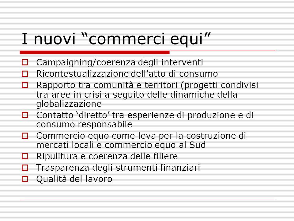 I nuovi commerci equi Campaigning/coerenza degli interventi Ricontestualizzazione dellatto di consumo Rapporto tra comunità e territori (progetti cond