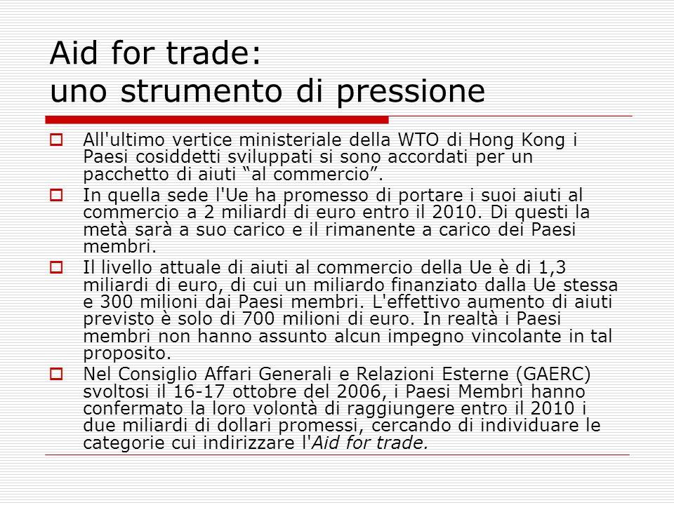 Aid for trade: uno strumento di pressione All'ultimo vertice ministeriale della WTO di Hong Kong i Paesi cosiddetti sviluppati si sono accordati per u