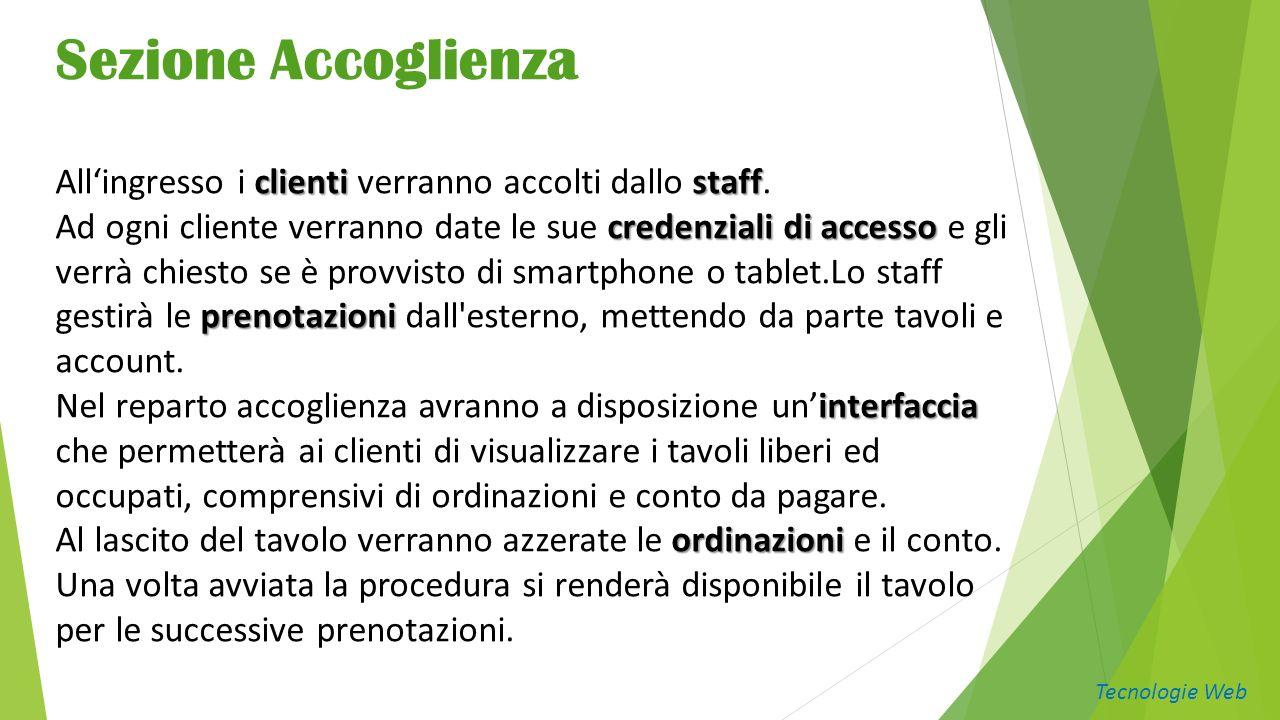 Sezione Accoglienza clientistaff Allingresso i clienti verranno accolti dallo staff.