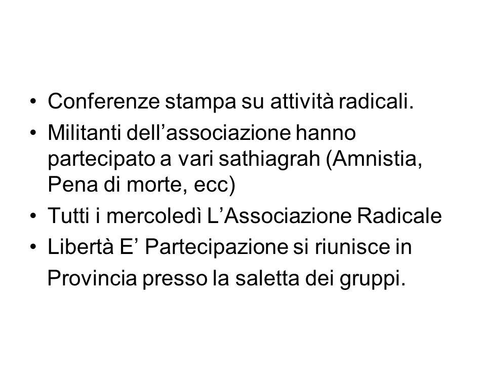 Conferenze stampa su attività radicali. Militanti dellassociazione hanno partecipato a vari sathiagrah (Amnistia, Pena di morte, ecc) Tutti i mercoled