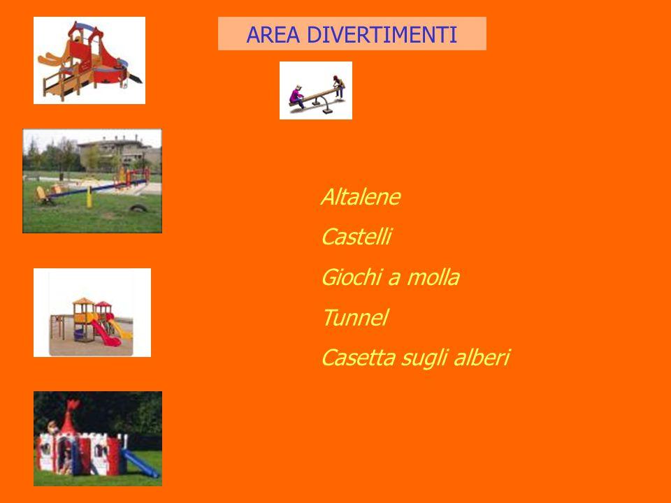 AREA DIVERTIMENTI Altalene Castelli Giochi a molla Tunnel Casetta sugli alberi