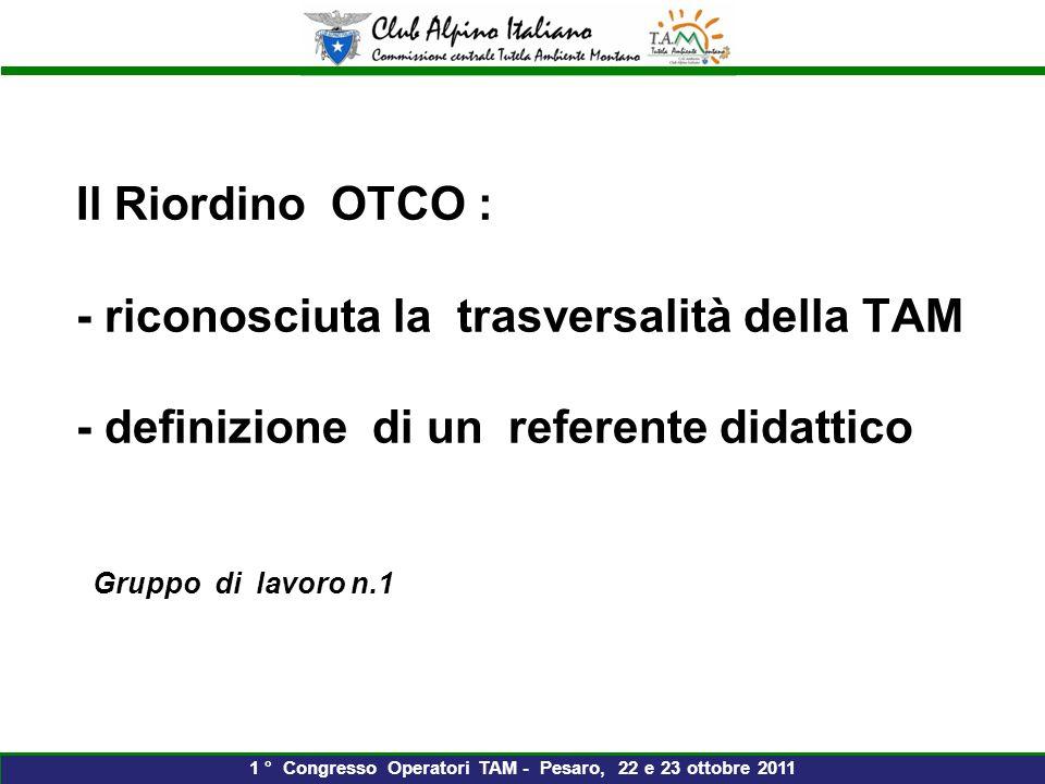 Il Riordino OTCO : - riconosciuta la trasversalità della TAM - definizione di un referente didattico Gruppo di lavoro n.1 1 ° Congresso Operatori TAM - Pesaro, 22 e 23 ottobre 2011