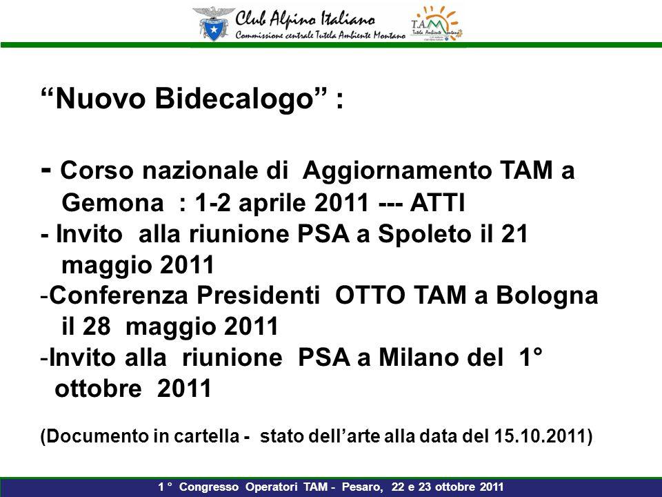 Nuovo Bidecalogo : - Corso nazionale di Aggiornamento TAM a Gemona : 1-2 aprile 2011 --- ATTI - Invito alla riunione PSA a Spoleto il 21 maggio 2011 -Conferenza Presidenti OTTO TAM a Bologna il 28 maggio 2011 -Invito alla riunione PSA a Milano del 1° ottobre 2011 (Documento in cartella - stato dellarte alla data del 15.10.2011) 1 ° Congresso Operatori TAM - Pesaro, 22 e 23 ottobre 2011