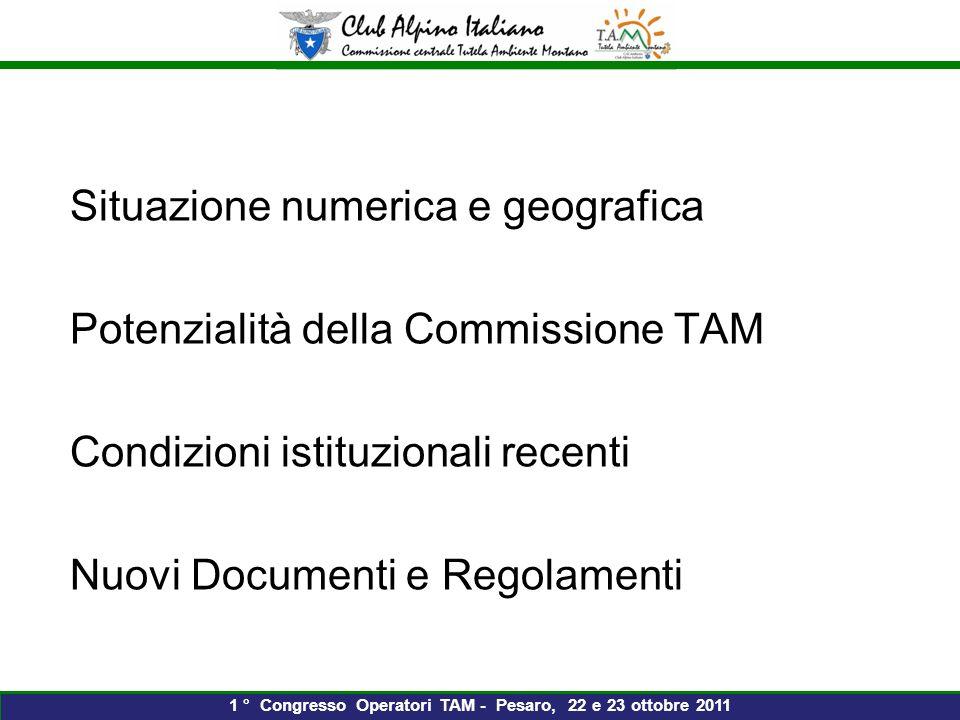 Situazione numerica e geografica Potenzialità della Commissione TAM Condizioni istituzionali recenti Nuovi Documenti e Regolamenti 1 ° Congresso Operatori TAM - Pesaro, 22 e 23 ottobre 2011