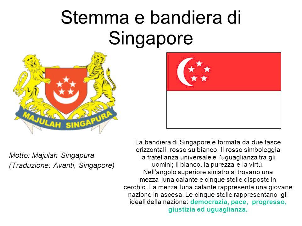 Stemma e bandiera di Singapore Motto: Majulah Singapura (Traduzione: Avanti, Singapore) La bandiera di Singapore è formata da due fasce orizzontali, r
