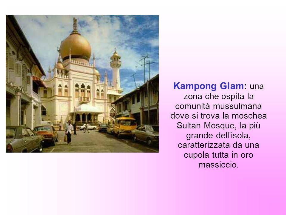 Kampong Glam: una zona che ospita la comunità mussulmana dove si trova la moschea Sultan Mosque, la più grande dellisola, caratterizzata da una cupola