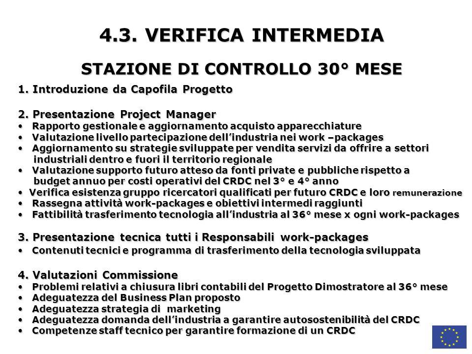 4.3.VERIFICA INTERMEDIA STAZIONE DI CONTROLLO 30° MESE 1.