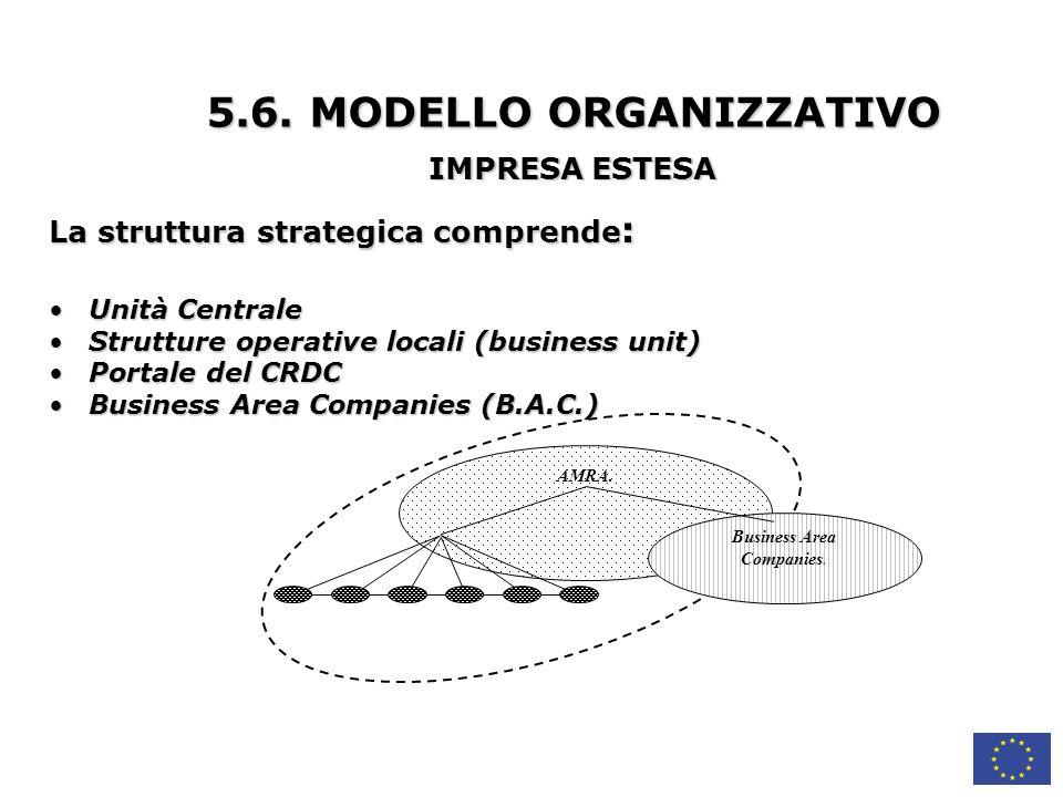 La struttura strategica comprende : Unità Centrale Unità Centrale Strutture operative locali (business unit) Strutture operative locali (business unit) Portale del CRDC Portale del CRDC Business Area Companies (B.A.C.) Business Area Companies (B.A.C.) AMRA.