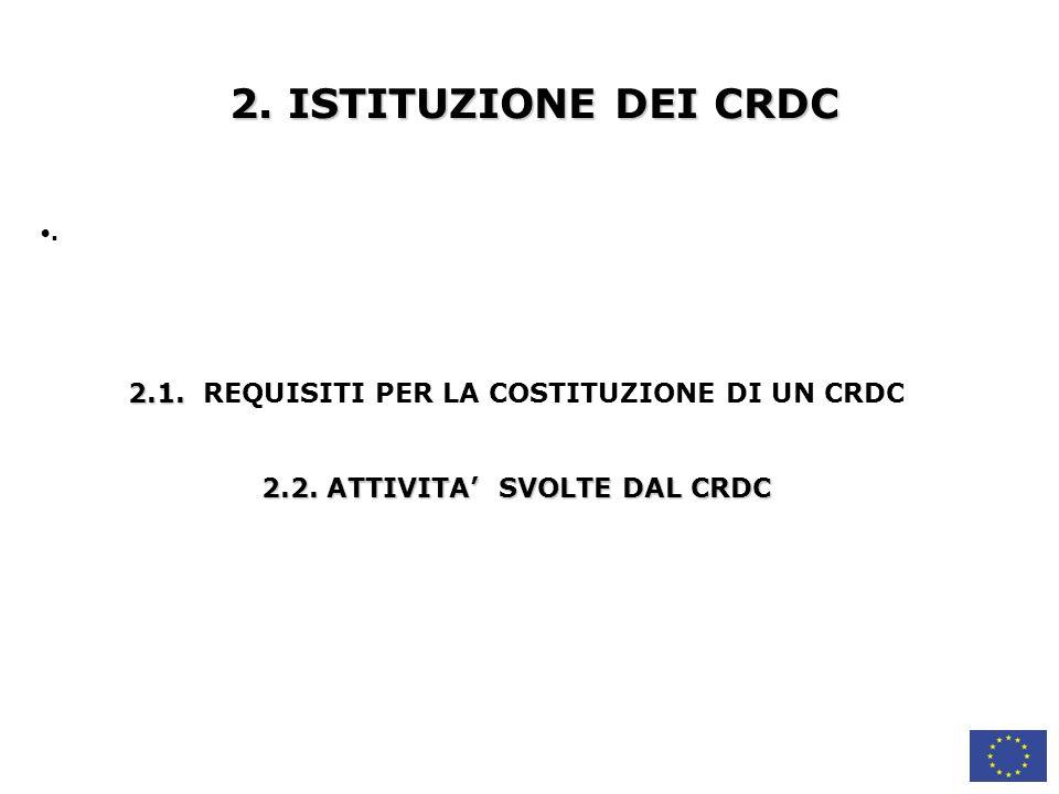 2.ISTITUZIONE DEI CRDC. 2.1. 2.1. REQUISITI PER LA COSTITUZIONE DI UN CRDC 2.2.