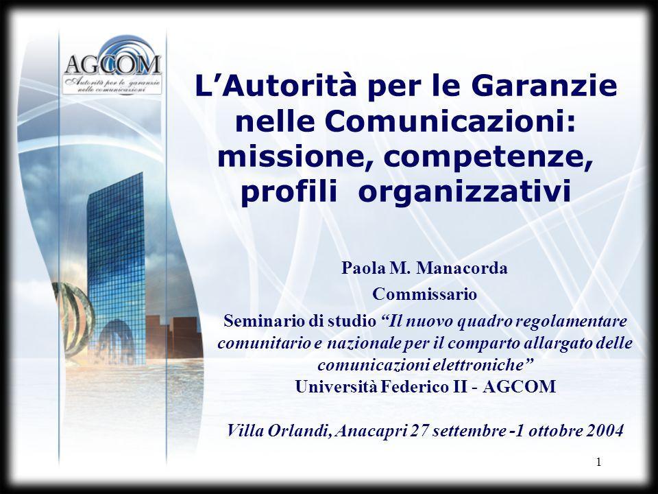 1 LAutorità per le Garanzie nelle Comunicazioni: missione, competenze, profili organizzativi Paola M. Manacorda Commissario Seminario di studio Il nuo