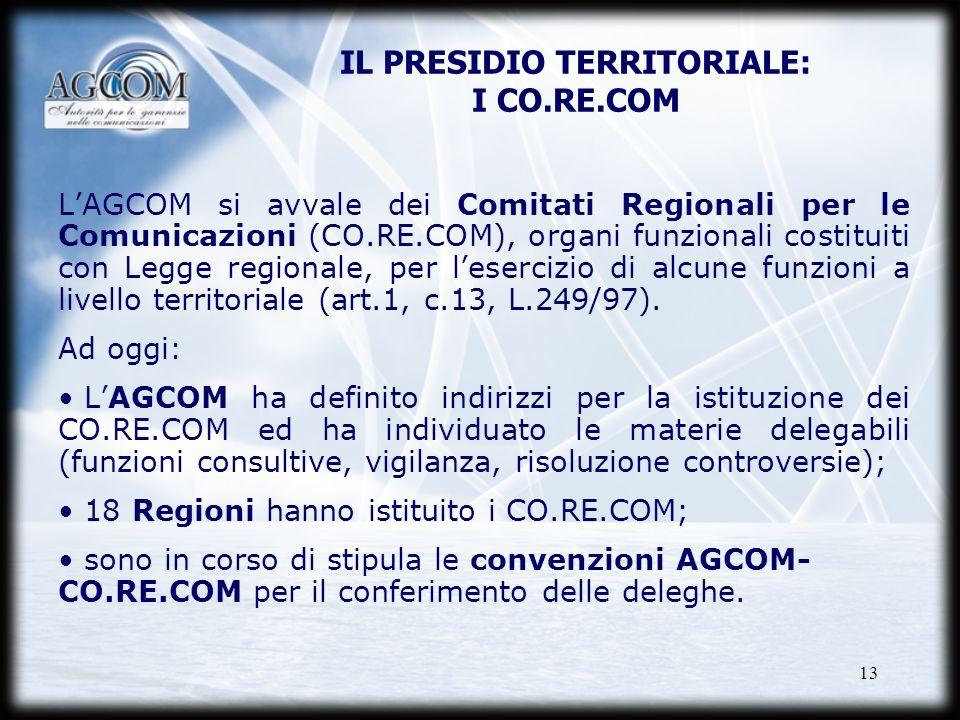 13 IL PRESIDIO TERRITORIALE: I CO.RE.COM LAGCOM si avvale dei Comitati Regionali per le Comunicazioni (CO.RE.COM), organi funzionali costituiti con Le