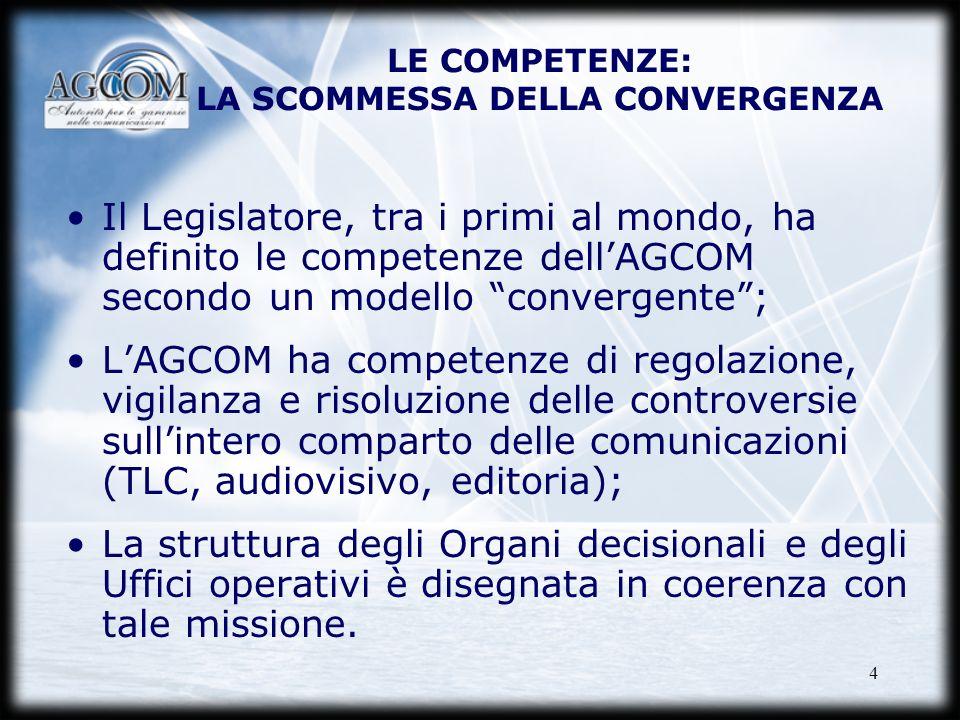 4 LE COMPETENZE: LA SCOMMESSA DELLA CONVERGENZA Il Legislatore, tra i primi al mondo, ha definito le competenze dellAGCOM secondo un modello convergen
