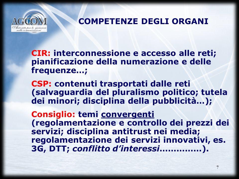 7 CIR: interconnessione e accesso alle reti; pianificazione della numerazione e delle frequenze…; CSP: contenuti trasportati dalle reti (salvaguardia