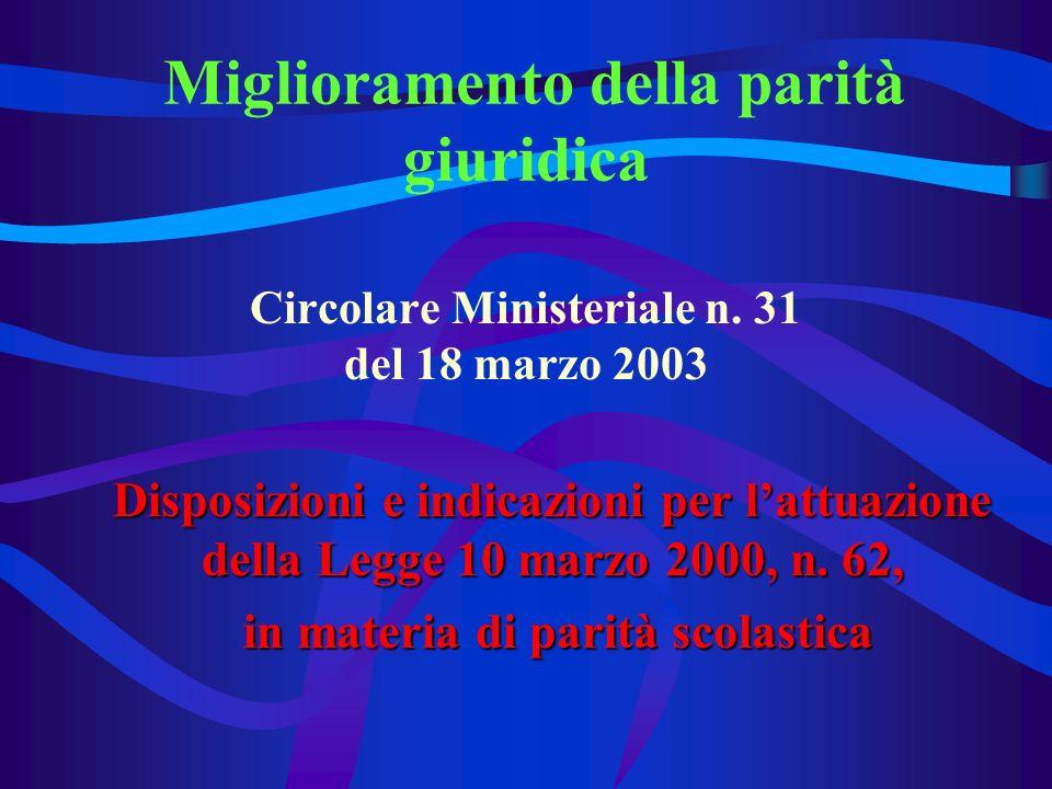 Miglioramento della parità giuridica Circolare Ministeriale n.