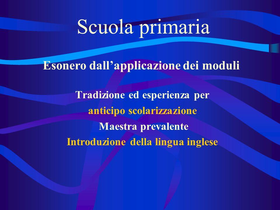 Scuola primaria Tradizione ed esperienza per anticipo scolarizzazione Maestra prevalente Introduzione della lingua inglese Esonero dallapplicazione dei moduli