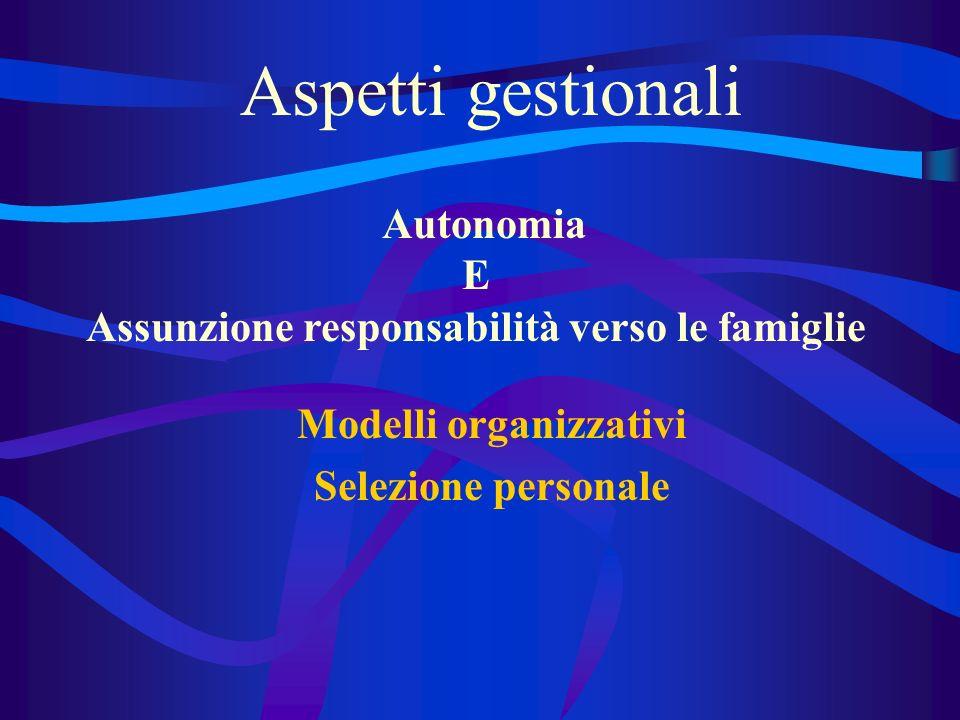 Aspetti gestionali Modelli organizzativi Selezione personale Autonomia E Assunzione responsabilità verso le famiglie
