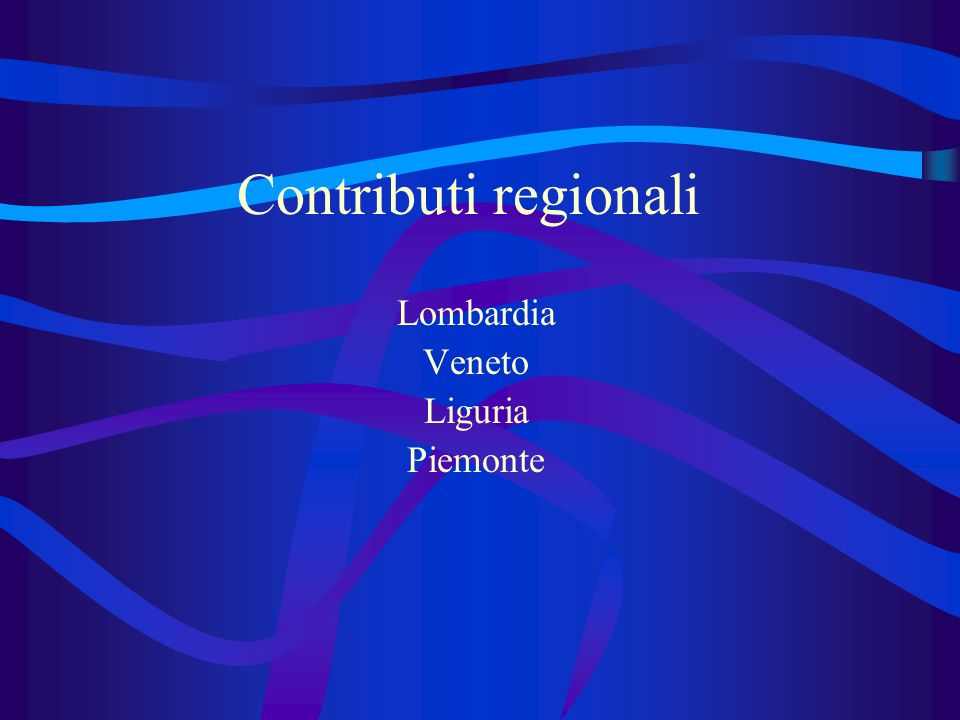 Contributi regionali Lombardia Veneto Liguria Piemonte