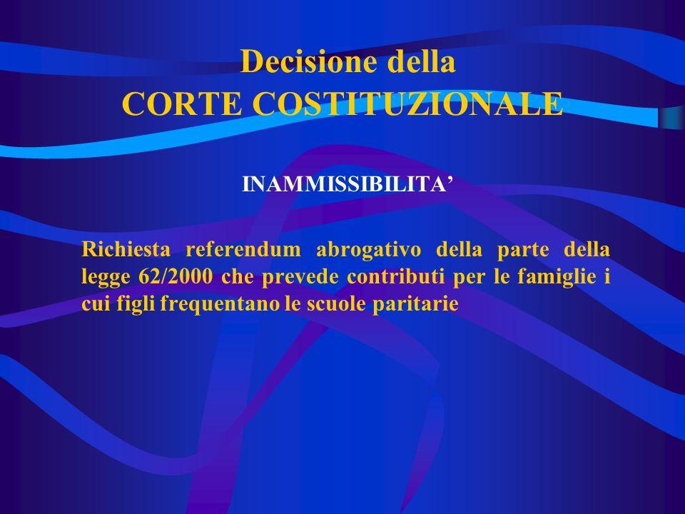 Decisione della CORTE COSTITUZIONALE INAMMISSIBILITA Richiesta referendum abrogativo della parte della legge 62/2000 che prevede contributi per le famiglie i cui figli frequentano le scuole paritarie