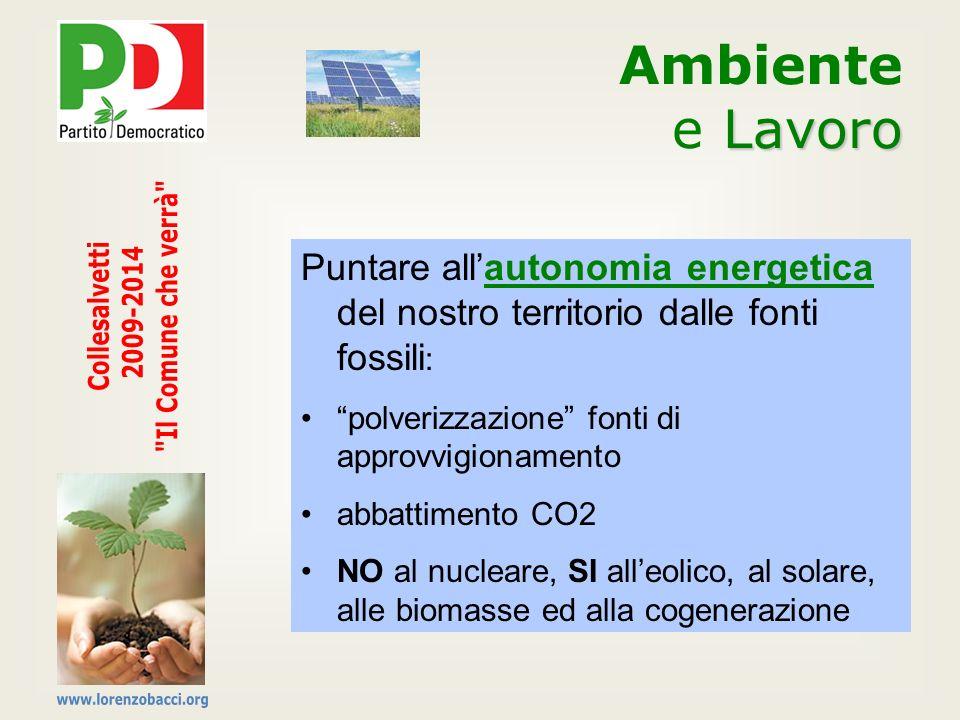Puntare allautonomia energetica del nostro territorio dalle fonti fossili : polverizzazione fonti di approvvigionamento abbattimento CO2 NO al nuclear