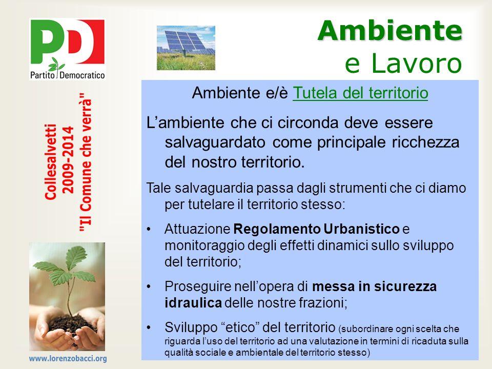 Ambiente Ambiente e Lavoro Ambiente e/è Tutela del territorio Lambiente che ci circonda deve essere salvaguardato come principale ricchezza del nostro