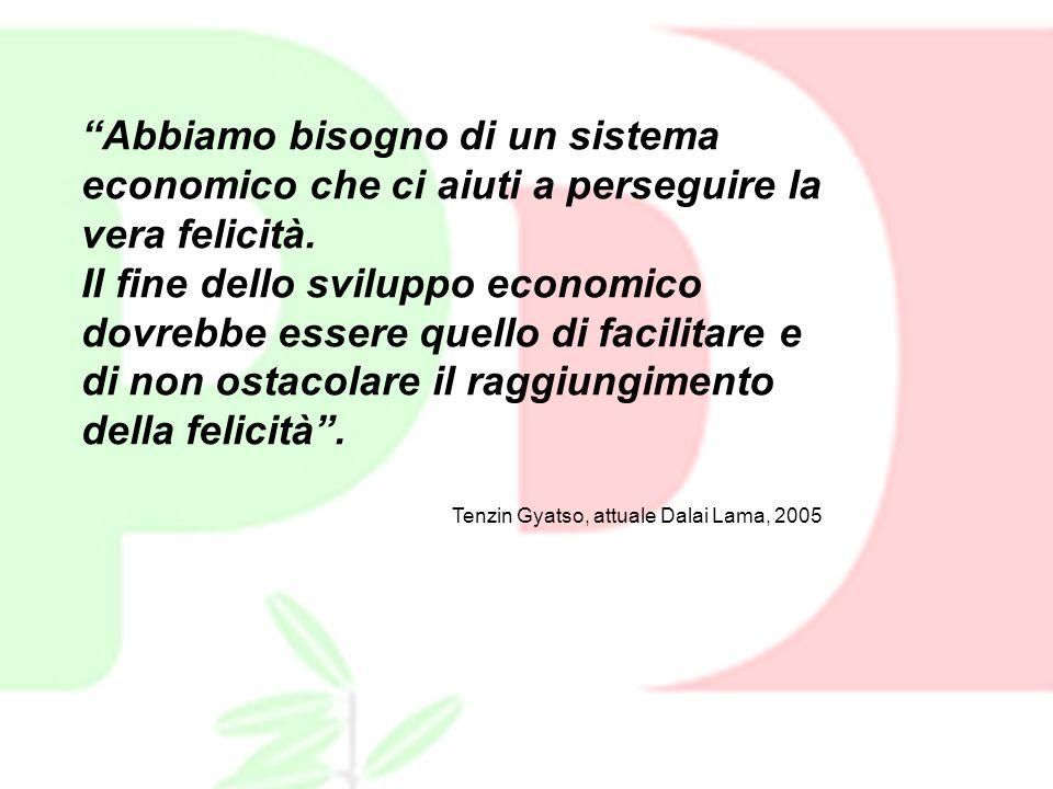 Abbiamo bisogno di un sistema economico che ci aiuti a perseguire la vera felicità. Il fine dello sviluppo economico dovrebbe essere quello di facilit