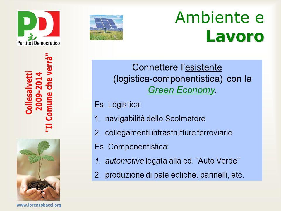 Lavoro Ambiente e Lavoro Connettere lesistente (logistica-componentistica) con la Green Economy. Es. Logistica: 1.navigabilità dello Scolmatore 2.coll