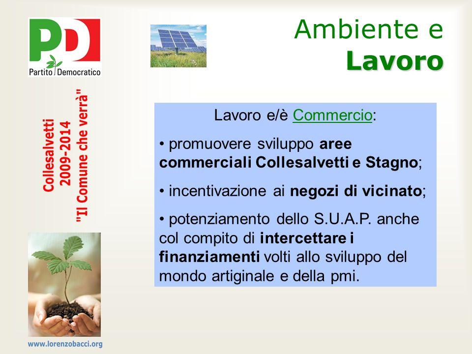 Lavoro Ambiente e Lavoro Lavoro e/è Commercio: promuovere sviluppo aree commerciali Collesalvetti e Stagno; incentivazione ai negozi di vicinato; pote