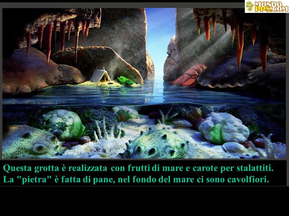 Questa grotta è realizzata con frutti di mare e carote per stalattiti. La