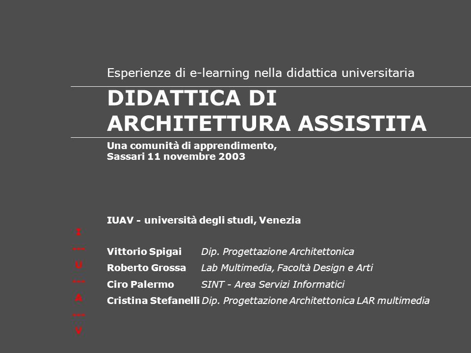 I U --- A --- V D I D A T T I C A D E L L A R C H I T E T T U R A I N R E T E ------------------------------------------------ DIDATTICA DI ARCHITETTURA ASSISTITA Una comunità di apprendimento, Sassari 11 novembre 2003 Vittorio Spigai Dip.