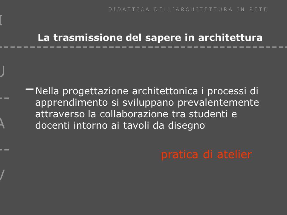I U --- A --- V D I D A T T I C A D E L L A R C H I T E T T U R A I N R E T E ------------------------------------------------ La trasmissione del sapere in architettura – Nella progettazione architettonica i processi di apprendimento si sviluppano prevalentemente attraverso la collaborazione tra studenti e docenti intorno ai tavoli da disegno pratica di atelier