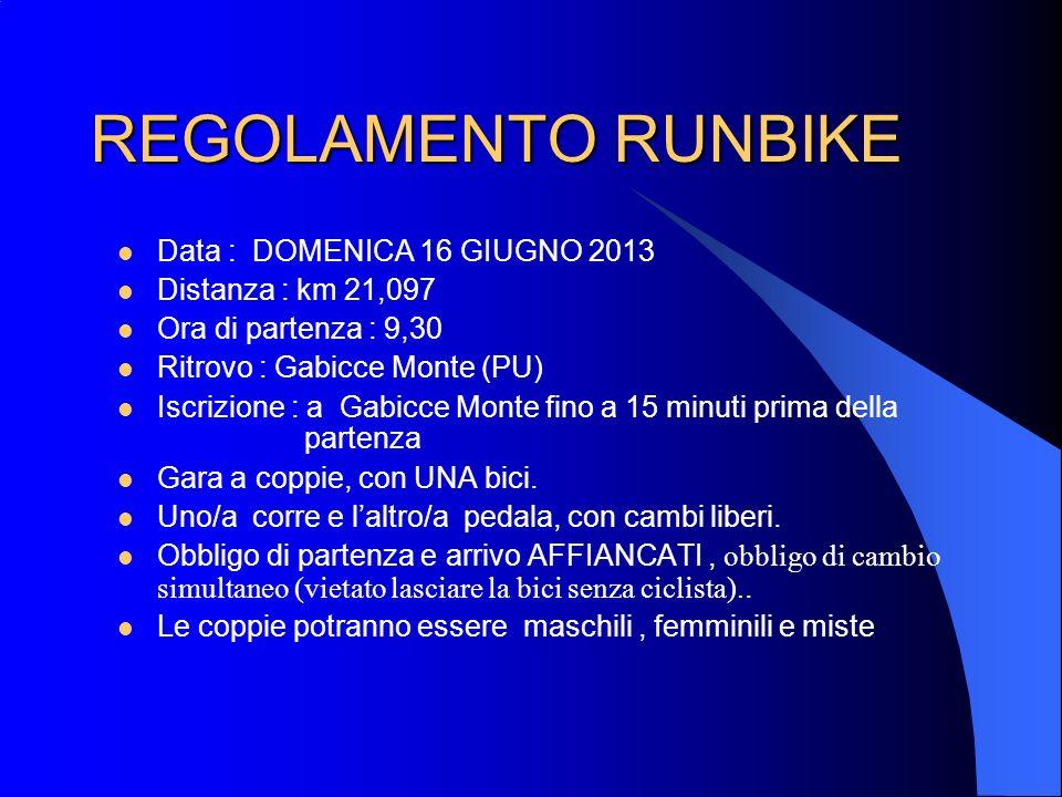 REGOLAMENTO RUNBIKE Data : DOMENICA 16 GIUGNO 2013 Distanza : km 21,097 Ora di partenza : 9,30 Ritrovo : Gabicce Monte (PU) Iscrizione : a Gabicce Mon