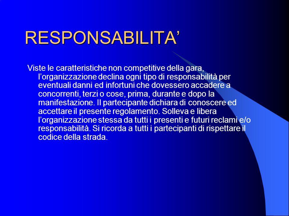 RESPONSABILITA Viste le caratteristiche non competitive della gara, lorganizzazione declina ogni tipo di responsabilità per eventuali danni ed infortu