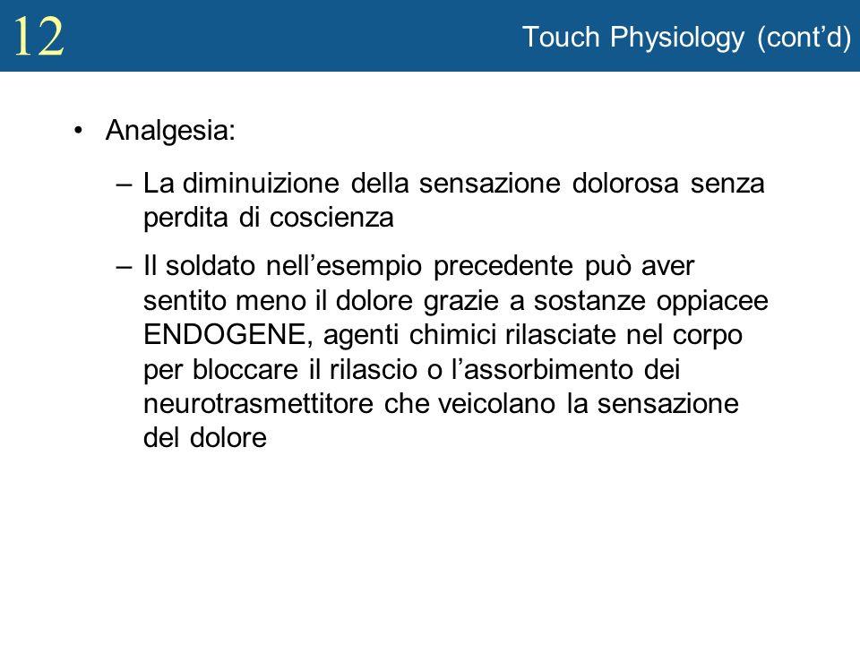 12 Touch Physiology (contd) Analgesia: –La diminuizione della sensazione dolorosa senza perdita di coscienza –Il soldato nellesempio precedente può av