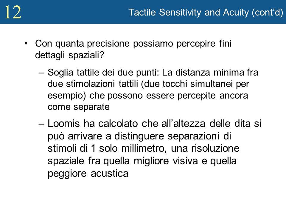 12 Tactile Sensitivity and Acuity (contd) Con quanta precisione possiamo percepire fini dettagli spaziali? –Soglia tattile dei due punti: La distanza