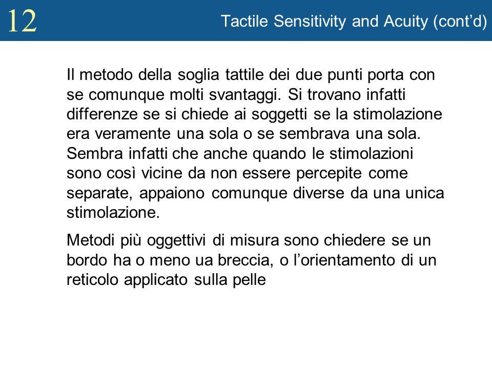 12 Tactile Sensitivity and Acuity (contd) Il metodo della soglia tattile dei due punti porta con se comunque molti svantaggi. Si trovano infatti diffe