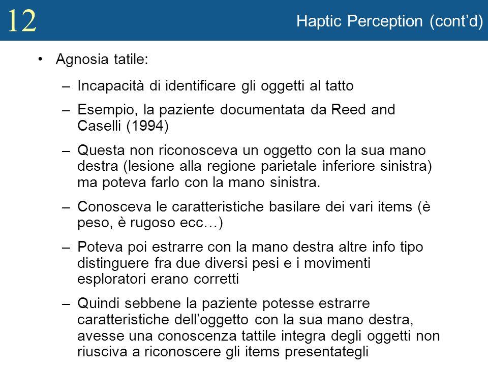 12 Haptic Perception (contd) Agnosia tatile: –Incapacità di identificare gli oggetti al tatto –Esempio, la paziente documentata da Reed and Caselli (1