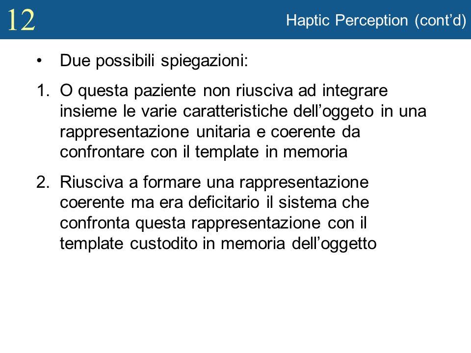 12 Haptic Perception (contd) Due possibili spiegazioni: 1.O questa paziente non riusciva ad integrare insieme le varie caratteristiche delloggeto in u
