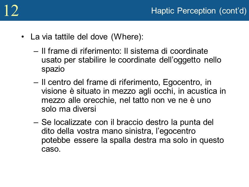12 Haptic Perception (contd) La via tattile del dove (Where): –Il frame di riferimento: Il sistema di coordinate usato per stabilire le coordinate del