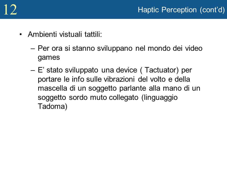 12 Haptic Perception (contd) Ambienti vistuali tattili: –Per ora si stanno sviluppano nel mondo dei video games –E stato sviluppato una device ( Tactu