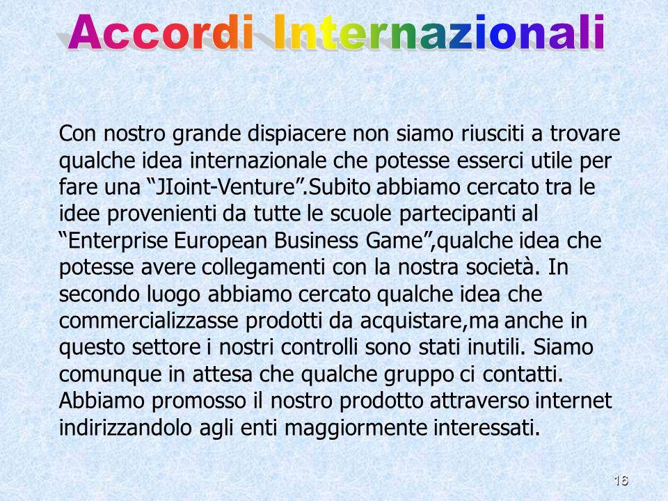 16 Con nostro grande dispiacere non siamo riusciti a trovare qualche idea internazionale che potesse esserci utile per fare una JIoint-Venture.Subito abbiamo cercato tra le idee provenienti da tutte le scuole partecipanti al Enterprise European Business Game,qualche idea che potesse avere collegamenti con la nostra società.
