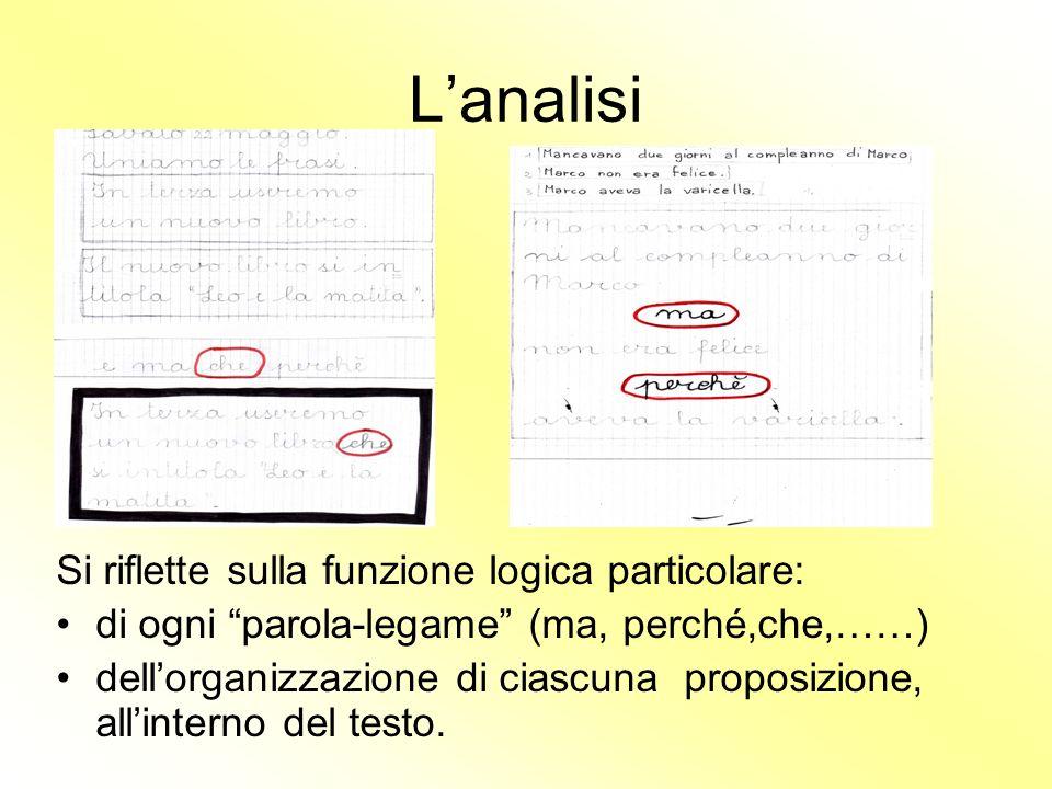 Lanalisi Si riflette sulla funzione logica particolare: di ogni parola-legame (ma, perché,che,……) dellorganizzazione di ciascuna proposizione, allinterno del testo.