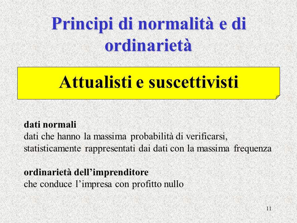 11 Principi di normalità e di ordinarietà dati normali dati che hanno la massima probabilità di verificarsi, statisticamente rappresentati dai dati co