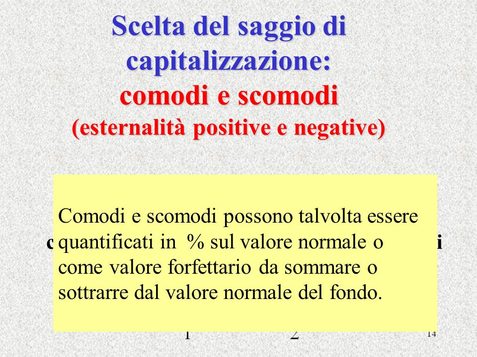 14 Scelta del saggio di capitalizzazione: comodi e scomodi (esternalità positive e negative) r comodiscomodi r1r1 r2r2 Comodi e scomodi possono talvol