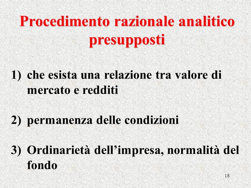 18 Procedimento razionale analitico presupposti 1)che esista una relazione tra valore di mercato e redditi 2)permanenza delle condizioni 3)Ordinarietà