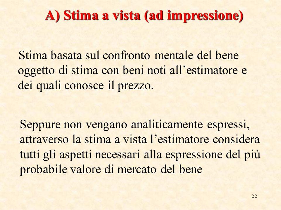 22 A) Stima a vista (ad impressione) Stima basata sul confronto mentale del bene oggetto di stima con beni noti allestimatore e dei quali conosce il p