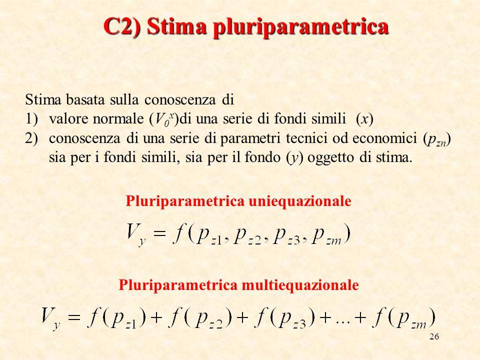 26 C2) Stima pluriparametrica Stima basata sulla conoscenza di 1)valore normale (V 0 x )di una serie di fondi simili (x) 2)conoscenza di una serie di