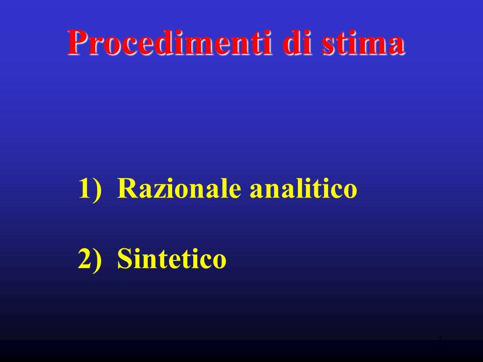 3 Procedimenti di stima 1) Razionale analitico 2) Sintetico
