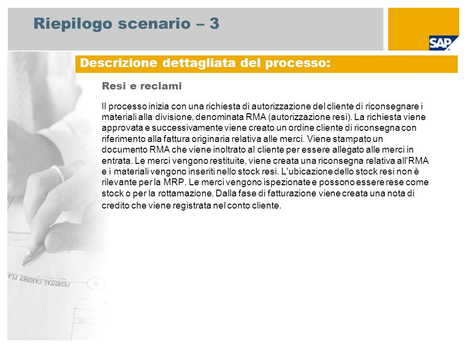 Riepilogo scenario – 3 Resi e reclami Il processo inizia con una richiesta di autorizzazione del cliente di riconsegnare i materiali alla divisione, d