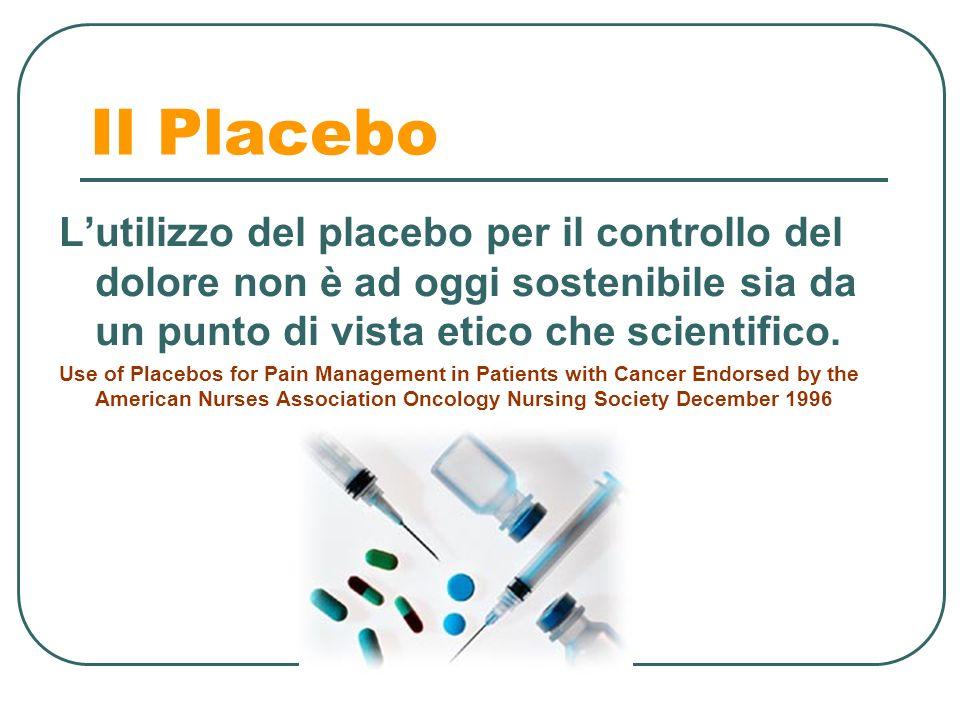 Il Placebo Lutilizzo del placebo per il controllo del dolore non è ad oggi sostenibile sia da un punto di vista etico che scientifico. Use of Placebos