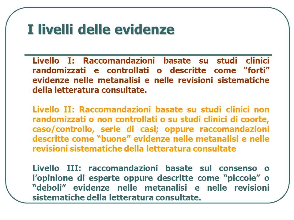 I livelli delle evidenze Livello I: Raccomandazioni basate su studi clinici randomizzati e controllati o descritte come forti evidenze nelle metanalis